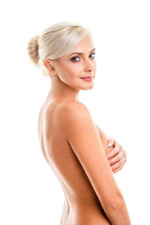 nude blonde woman: Fashion photo of beautiful nude blonde  woman