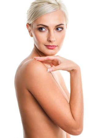 nude blonde woman: closeup Fashion photo of beautiful nude blonde  woman, looking down Stock Photo