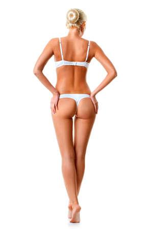 niñas en ropa interior: mujer rubia con ropa interior blanca aislada sobre blanco