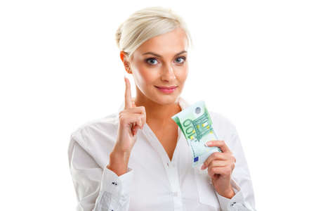 woman holding money: young woman holding euro bills over white thumbs up