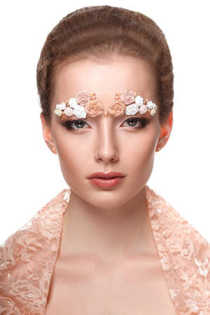 skintone: Beauty model portrait with creative makeup,  eyebrows from flowers