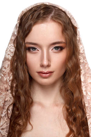 skintone: Beauty model portrait with headscarf on her hairs