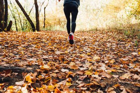 fall leaves: athlete woman runs for fall foliage, shoes closeup