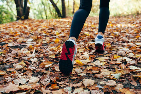 athlete woman runs for fall foliage, shoes closeup, back view