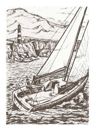 Black ink yacht drawing Ilustração