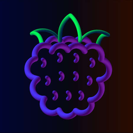 3d blackberry neon tubed logo rounded.  Great for Poster, Sale Banner, Advertising. Isolated on dark gradient background.