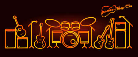 musical instruments neon tubed silhouette abstract design concept jazz band performance set