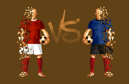vector illustration soccer football player low-poly style russia versus croatia