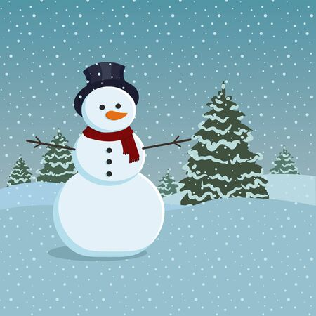 snowman: Snowman and trees covered in snow