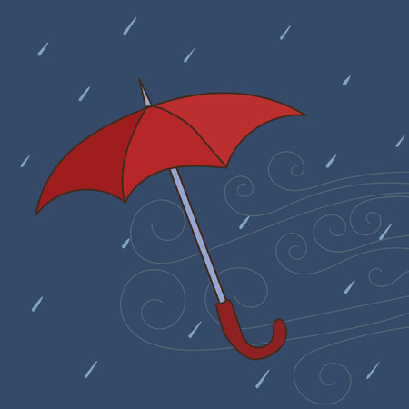 gust: Doodle vector umbrella illustration. Colorful hand drawn illustration of blown away umbrella.