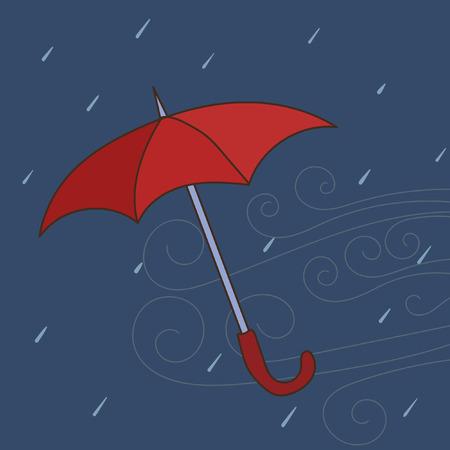 Doodle vector umbrella illustration. Colorful hand drawn illustration of blown away umbrella.