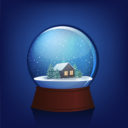 snow globe: Snow globe with trees and house