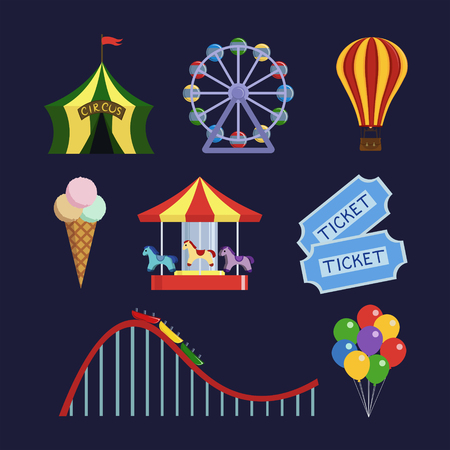 park: Amusement park icons set