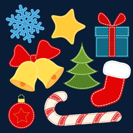 Christmas vector stickers. Christmas stickers with stitching imitation.
