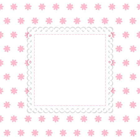 White and pink flowers vector template. White background with pink flowers and blank label with lace edging.