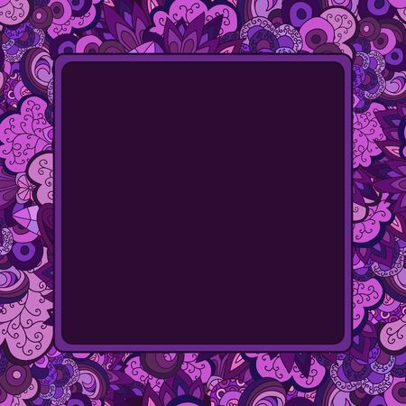 bordure florale: Square vector frame. Purple floral border with space in centre. Illustration