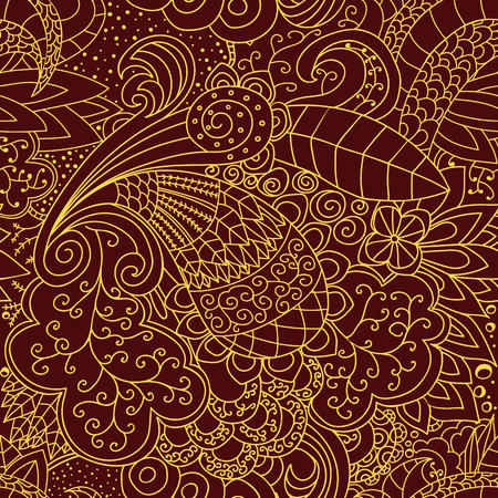 gold lace: Seamless floral pattern. Red and gold lace pattern. Illustration