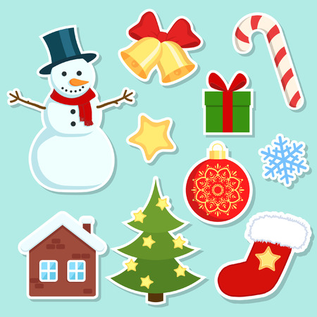 snowman: Christmas stickers set. Colorful Christmas stickers on white background. Illustration