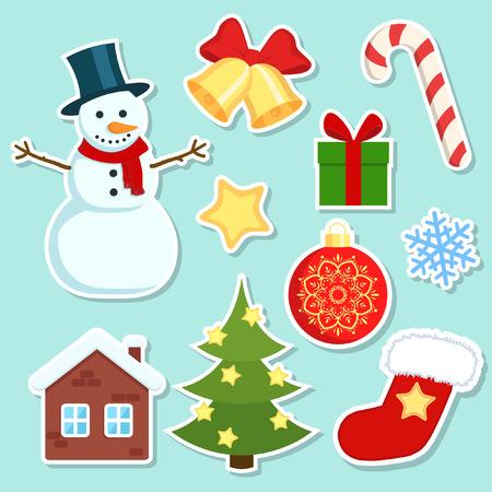 bonhomme de neige: Noël autocollants fixés. Noël autocollants colorés sur fond blanc. Illustration