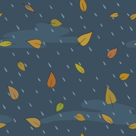 raining background: Autumn seamless vector pattern. Raindrops and falling leaves.