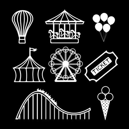 amusement park black and white: Amusement park black and white icons set