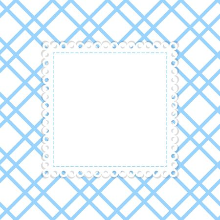 blank label: Blue and white vector template. White background with blue stripes and blank label with lace edging.