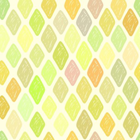 untidy: Seamless colored vector diamond pattern. Background texture consisting of multi-colored slipshod rhombs.