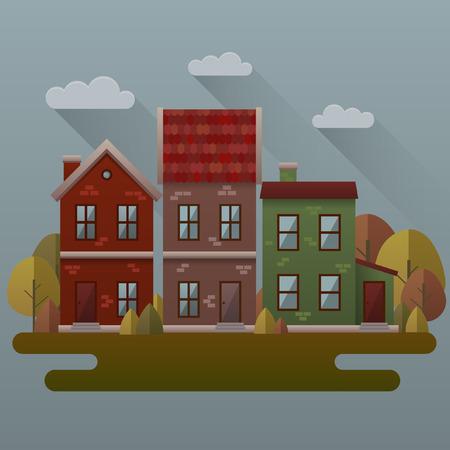autumn scene: Autumn scene illustration. Vector image with houses and trees in autumn.