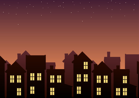 Town outline in twilight. Vector illustration of houses with evening sky in background.