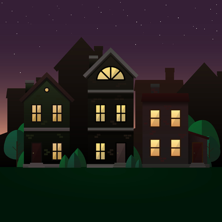 violet residential: Evening scene illustration. Vector image with houses and trees in twilight.