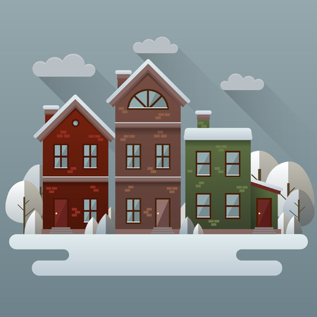 winter weather: Winter scene illustration. Vector image with houses and trees in snow.