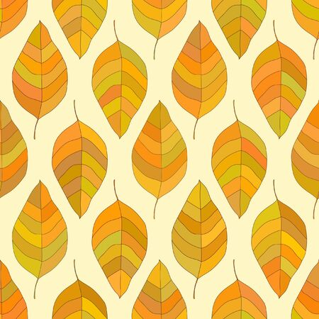staggered: Seamless autumn texture. Vector pattern with yellowed leaves in staggered order.