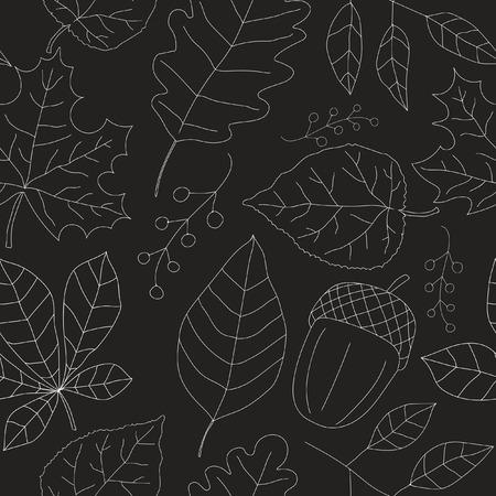 arboles blanco y negro: Textura inconsútil del otoño. Blanco esboza de hojas sobre fondo oscuro. Vectores