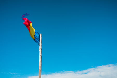 Romanian flag, windy day