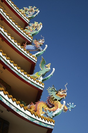 Five Chinese style dragons statue photo
