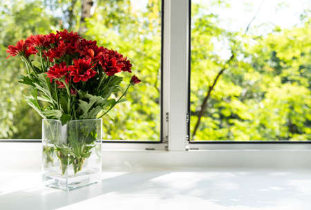 The window is a glass vase with red chrysanthemums