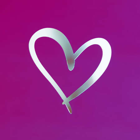 View of a mirrored white heart on a pink background. Holiday concept, Valentines Day, art, background, love.