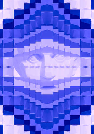 Modern collage. The head of the sculpture of a man is visible through a small hole in a solid wall of blue ceramic tiles. The concept of isolation, abstraction, art