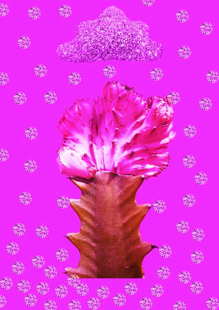 Modern collage. Cactus on which rain from diamonds falls. Concept abstraction, art. Stock fotó