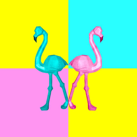 Contemporary collage. Two flamingos on a colorful background that look in different directions. The concept of psychology, abstraction