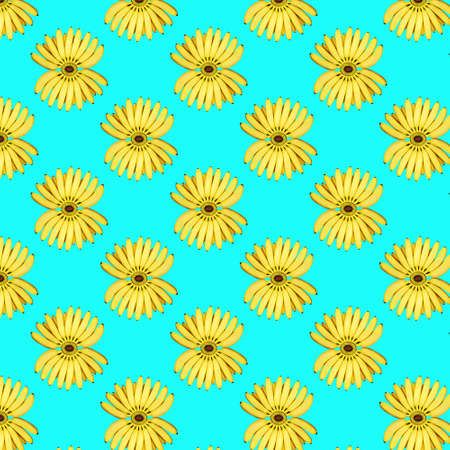Seamless pattern of a bunch of yellow bananas on a blue background. The concept of food, summer
