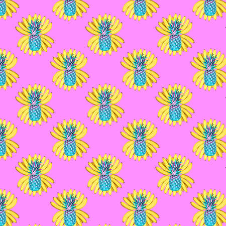 Seamless pattern of a bunch of yellow bananas and pineapples on a pink background. The concept of food, summer