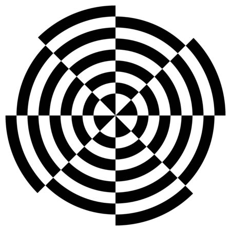 Black and white circular stripes illusive optical art, vector design