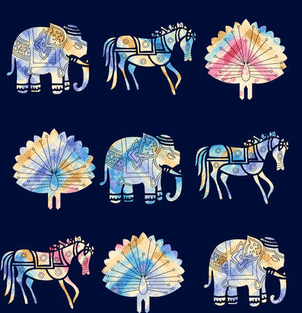 seamless animal motif pattern with navy color 스톡 콘텐츠