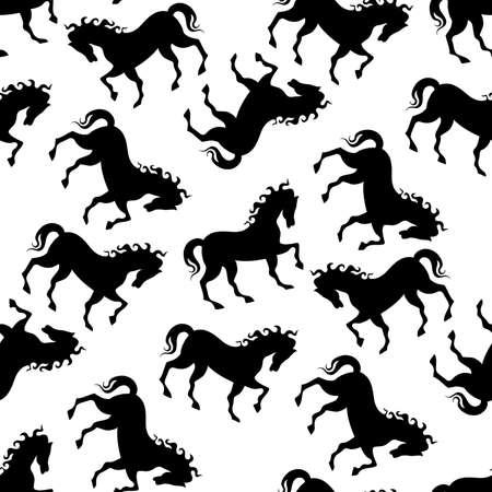 seamless horse black white pattern