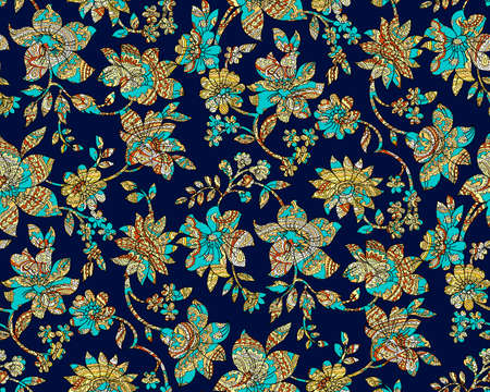 seamless colorful paisley damask with navy background Stock Photo