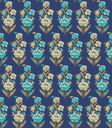 seamless mughal flower pattern with blue color