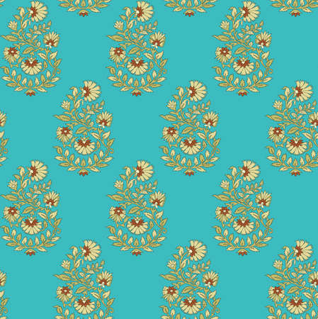 seamless mughal flower pattern with background Stock Photo