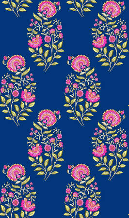 seamless mughal floral pattern with blue background 写真素材