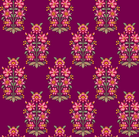 seamless mughal floral pattern with marun background